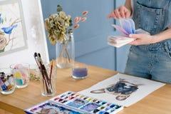 Miscela dell'inchiostro della tintura del campione dell'acquerello della pittura di arte creativa Fotografie Stock Libere da Diritti