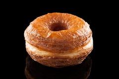Miscela della ciambella e del croissant isolata sul nero Fotografia Stock Libera da Diritti