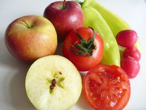Miscela della frutta e delle verdure fresche Fotografia Stock Libera da Diritti
