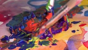 Miscela della gouache di parecchi colori archivi video