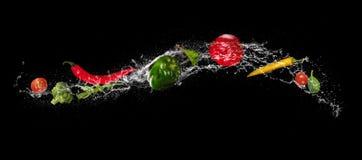 Miscela della verdura nella spruzzata dell'acqua su fondo nero Immagine Stock Libera da Diritti