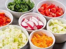 Miscela delle ciotole di verdure per insalata o gli spuntini Fotografia Stock Libera da Diritti
