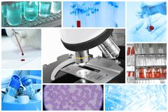 Miscela di attrezzatura e medico con il microscopio Immagine Stock Libera da Diritti