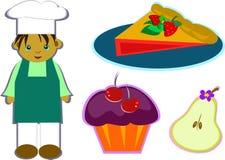 Miscela di un cuoco e degli alimenti saporiti Fotografia Stock Libera da Diritti