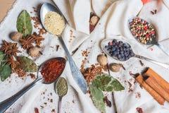 Miscela di vista superiore delle spezie ed erbe differenti, cuoco ed ingredienti di cucina sulla tavola con la decorazione della  Immagini Stock