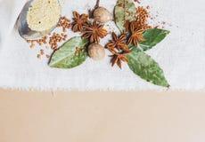 Miscela di vista superiore delle spezie ed erbe differenti, cuoco ed ingredienti di cucina sulla tavola con la decorazione della  Immagine Stock