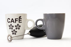 Miscelatore e tazza da caffè neri della batteria Immagine Stock Libera da Diritti