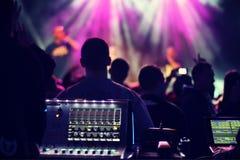 Miscelatore, suono, microfono Fotografia Stock
