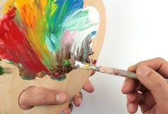 Miscelazione di colore sul palet Immagini Stock Libere da Diritti