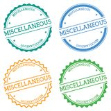 Miscellaneous badge isolated on white background. Flat style round label with text. Circular emblem vector illustration Royalty Free Stock Photo