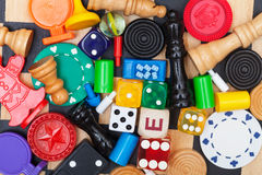 Miscellaneous board game pieces Royalty Free Stock Photography
