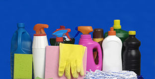 Miscellaneous cleaning on a blue background. Panoramic photography royalty free stock photos