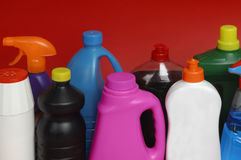 Miscellaneous cleaning on a red background. Several products coloress cleaning on a red background stock image