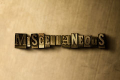MISCELLANEOUS - close-up of grungy vintage typeset word on metal backdrop Stock Photos