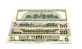 Miscellaneous denominations of dollars Royalty Free Stock Images