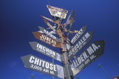 Miscellaneous distance signs Stock Images