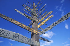 Miscellaneous distance signs Stock Photography