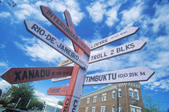 Miscellaneous distance signs Stock Image