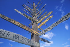 Miscellaneous distance signs in Alaska, Route 1 Stock Photo