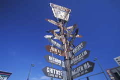 Miscellaneous distance signs in Anchorage, Alaska Royalty Free Stock Photography