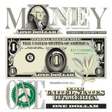 Miscellaneous 1 dollar bill elements Royalty Free Stock Image