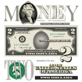 Miscellaneous 2 dollar bill elements royalty free illustration