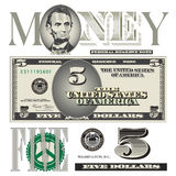 Miscellaneous 5 dollar bill elements Stock Photo