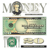 Miscellaneous 20 dollar bill elements. For Print or Web royalty free illustration