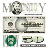 Miscellaneous 50 dollar bill elements. For Print or Web Stock Images