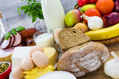 Miscellaneous food dairy products  bread meat Stock Photos