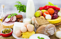 Miscellaneous food dairy products  bread meat Royalty Free Stock Images