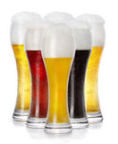 Miscellaneous fresh frothy beer in glasses Royalty Free Stock Photo