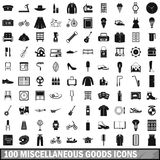 100 miscellaneous goods icons set, simple style Stock Images
