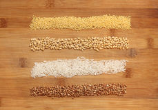 Miscellaneous grains. Millet, buckwheat, wheat and rice royalty free stock image