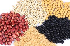 Miscellaneous grains. Isolated on white background stock image