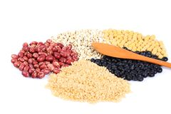 Miscellaneous grains. Isolated on white background stock photography