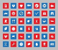 Miscellaneous  icon set with square frame for web and mobile #03. Miscellaneous symbol icon set square frame  and long shadow for web and mobile #03 Royalty Free Stock Photos