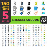 Miscellaneous 150 line flat isometric mobile web s Royalty Free Stock Photo