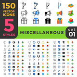 Miscellaneous 150 line flat isometric mobile web s Royalty Free Stock Photos