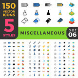 Miscellaneous 150 line flat isometric mobile web s. 150 miscellaneous ui icon set. Linear outline flat isometric 5 styles icons. Five style vector mobile app Stock Photography