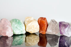 Miscellaneous mineral stones, uncut, crystal healing for alterna Stock Photos