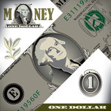 Miscellaneous one dollar bill elements Stock Images