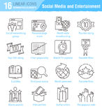 Miscellaneous social media and entertainment vector thin line ic Royalty Free Stock Image