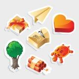 Miscellaneous sticker icon set stock illustration