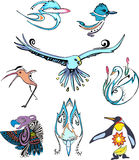 Miscellaneous stylized birds Stock Photography