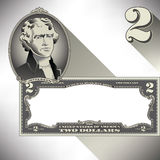 Miscellaneous two dollar bill elements Royalty Free Stock Image