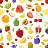 Miscellaneous vector fruits seamless pattern Royalty Free Stock Photos