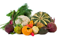 Miscellaneous Vegetables. Miscellaneous fresh vegetables isolated on white background Royalty Free Stock Image
