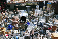 Miscellaneous vintage retro things on the counter junk shop Royalty Free Stock Images