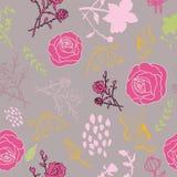 Mischblumen auf gedämpftem rosa Hintergrundmuster vektor abbildung